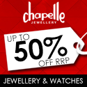 Chapelle 50 percent off RRP on Jewellery and Watches